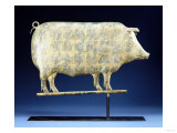 A Molded and Copper Gilded Copper Pig Weathervane  American  19th Century