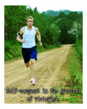 Self Conquest is the greatest of victories Inspirational Running Poster
