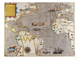 Sir Francis Drake's West Indian Voyage  Engraved Map circa 1589