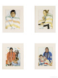 Four Color Reproductions of American Indians  in Carved Frames