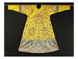 Rare Imperial Embroidered Yellow Silk Twelve Symbol Dragon Robe  Ji Fu  Qianlong Period (1735-1796)