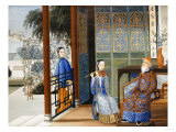 An Elderly Gentleman Listening to a Flautist in an Interior  Chinese School  Mid 19th Century