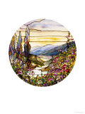 Fine Leaded Glass Window Enamelled Sunset with Mountains  circa 1900