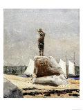 Boy Hailing Schooners  1880