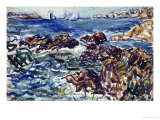 Rocky Cove with Village and Sketch of Rocks