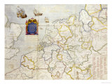 Watercolour Map on Vellum of Northern Europe  1624