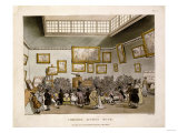 Colored Aquatint of Christies Auction Room  London  1808