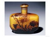 A Galle Carved  Acid-Etched and Cased Glass Flacon and Stopper with Chrysanthemum Design