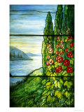 A Mountainous Lake Scene with Red Blossoming Hollyhocks and Arbor