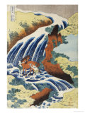 Two Men Washing a Horse in a Waterfall