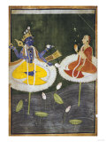 Krishna and Tadha Enthroned  Mankot or Bilaspur  circa 1700