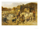 A Farmyard Scene with Plough Horses  Ducks  Cows