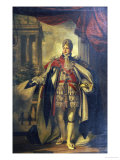 Portrait of King George Iv as Prince of Wales  Standing Full Length in Garter Robes