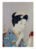 A Maiko Applying Rouge to Her Lips