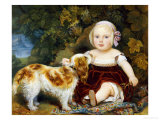 A Young Child with a Brown and White Spaniel by a Leafy Bank  19th Century