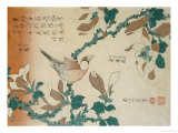 "A Paddy Bird Perched on a Flowering Magnolia Branch from the Series ""Small Flowers"""