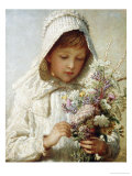 The Month of September  a Young Girl in White  Holding a Bunch of Flowers