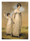 Portrait of a Mother and Her Daughter  in White Dresses  the Daughter with a Skipping Rope