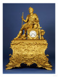 An Ormolu Mantel Clock  a Roman Emperor Seated on a Square Clock Case