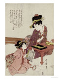 A Young Woman Seated at a Desk Writing  a Girl with a Book Looks On