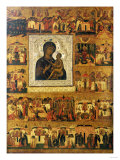 Icon of the Mother of God Tikhvinskaia  Central Russia  First Half of the 17th Century