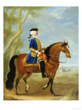 Portrait of a Mounted Officer  Horsemen Beyond in a Landscape