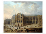 View of Westminster Abbey with Figures in the Foreground  English School  circa 1725