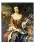 Portrait of Queen Mary II  Wearing a Blue and Red Dress and Holding a Sprig of Orange Blossom