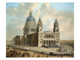View of St Paul&#39;s Cathedral with Figures in the Foreground  English School circa 1725