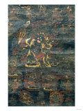 A Black Tibetan Thanka in Gold  Grey and Red Depicting Dharmapala  19th Century