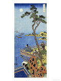 A Courtier on the Balcony of a Chinese Pavilion Looking in the Distance on a Moonlit Night
