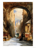 Venice: an Edicola Beneath an Archway  with Santa Maria Della Salute in the Distance  1853