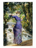 Girl Reading by a Waterfall  circa 1882