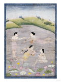 The Wives of Raga Hindola Swimming in a Lake with the Aid of Pitchers  Kangra  Early 19th Century