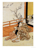 Two Women Seated by a Verandah  One Pointing at Geese in Flight Beyond a Flowering Plum Tree