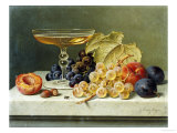 A Glass of Champagne  Grapes Plums and a Peach on a Marble Ledge