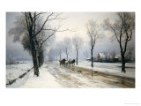 An Extensive Winter Landscape with a Horse and Cart  1882