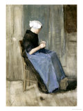 A Young Scheveningen Woman Knitting