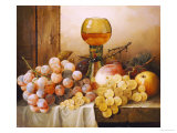 Grapes  Apple  Plums and Peach with Hock Glass on Draped Ledge