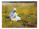 A Young Girl Picking Flowers