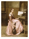 Corot's Studio (Young Girl in Pink Dress Sitting by an Easel with a Mandolin)