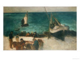 Seascape at Berck  Fishing Boats and Fishermen  1872-1873