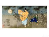 A Triptych of Fujiwara No Yasumasa Playing the Flute by Moonlight Giclée par Tsukioka Kinzaburo Yoshitoshi