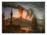 Eruption of Vesuvius at Night with Fishermen Unloading Their Nets Near the Lighthouse  1781