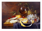 A Roemer, a Peeled Half Lemon on a Pewter Plate, Oysters, Cherries and an Orange on a Draped Table Giclée par Joris Van Son