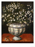 Myrtle in a Lobed-Footed Polychrome Maiolica Manises Vase on a Draped Ledge  1663