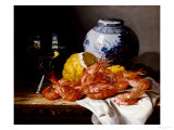 Shrimps  a Peeled Lemon  a Glass of Wine and a Blue and White Ginger Jar on a Draped Table