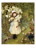 Portrait of Effie Holding a Lily and a Posy of Roses in a Garden  1876