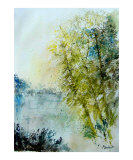 Watercolor 5575 Pond landscape