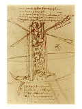 Drawing of a Flying Machine Giclée par Leonardo Da Vinci